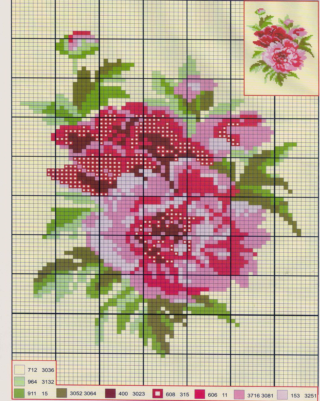 Схема вышивки розовых цветов 129
